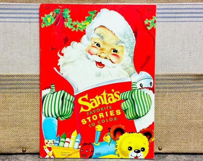 SANTA'S Favorite Stories to Color Vintage Lowe COLORING Book 1977