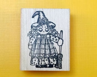 Miss Witchee Poo Kid Wood Mount Rubber Stamp (1994)