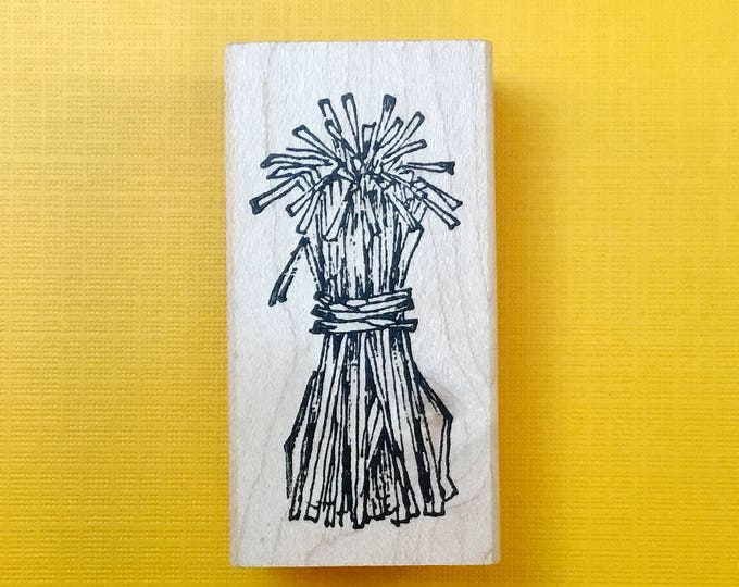 CORN STALK Wood Mount Rubber Stamp by Peddler's Pack Stampworks 1995-96 HALLOWEEN Farm