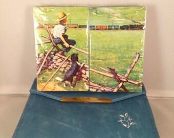 "Playing Cards:  Norman Rockwell ""Boy Watching Train"" (Panoramic Bridge)"