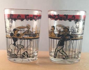 Set of 2 Hazel Atlas Shot Liquor Glasses MID CENTURY 1800'S Bar Saloon Scene Vintage