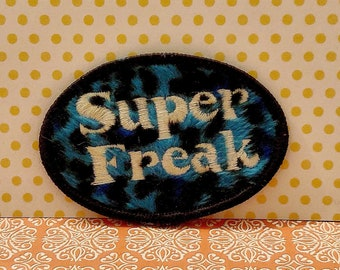 SUPER FREAK Oval Sew-On Appliqué Embroidered Patch Iron-On Patch