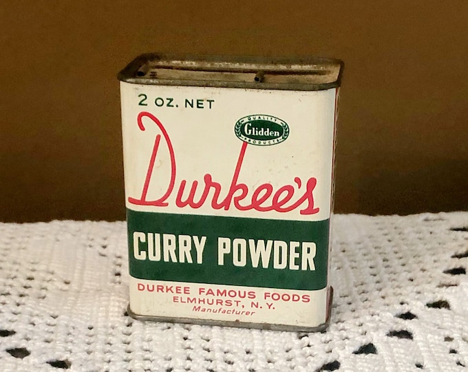 Vintage DURKEE'S Curry Powder SPICE TIN Can Advertising