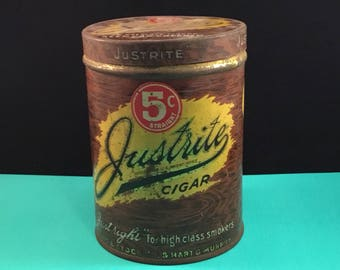 Vintage Justrite Cigar Tobacco Tin Can (1930s)