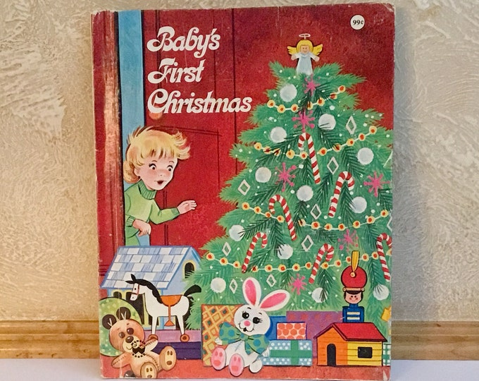 1959, 1984 BABY'S FIRST CHRISTMAS Children's Book Wonder Book