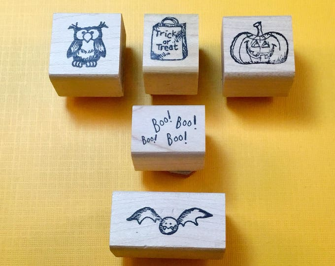 HALLOWEEN Wood Mount Rubber Stamps, Lot of Five (1990s)