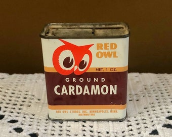 Vintage RED OWL Ground Cardamom Spice TIN Can Advertising