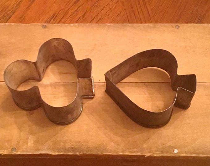 Set of Two (2) Vintage Primitive Cookie Cutters - SPADE and CLUB Card Suit Cutters