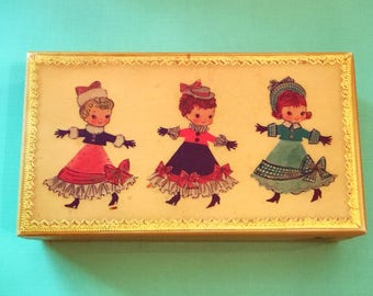 ADORABLE Mid Century TRINKET JEWELRY Box Wooden Christmas Decor