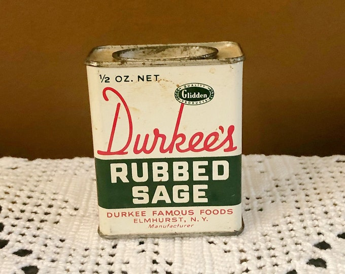 Vintage DURKEE'S Rubbed Sage SPICE TIN Can Advertising