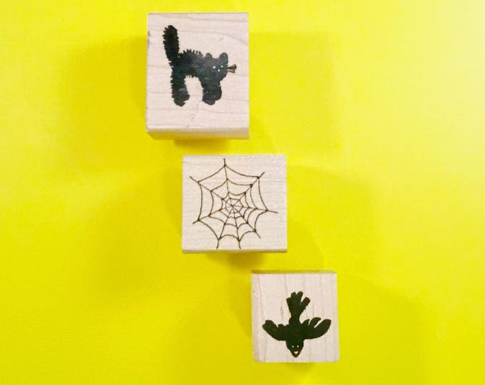Lot of Three (3) HALLOWEEN Autumn Wood Mount Rubber Stamps by PEDDLER'S PACK Stampworks 1990's