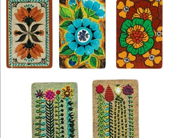 "Vintage ""FLOWER POWER"" Assorted Flower / Floral Playing Cards / Swap Cards / Artist Trade Cards"