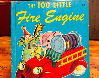 1950 The Too Little FIRE ENGINE Vintage Wonder Book