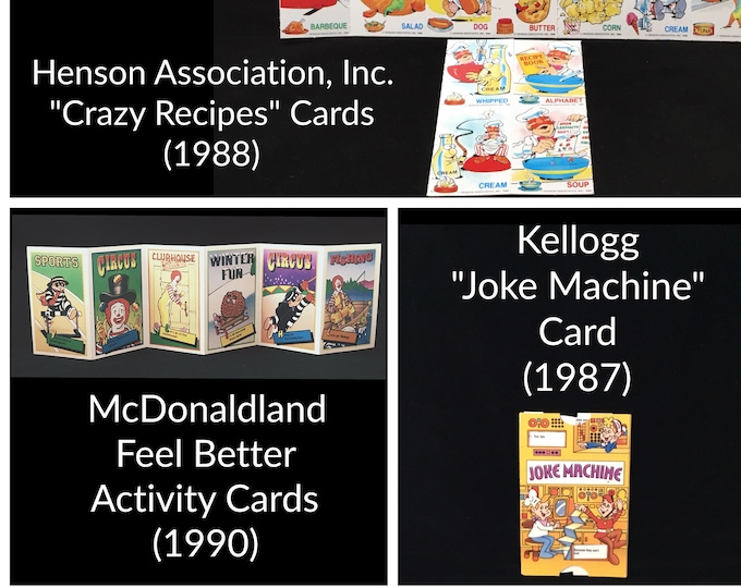 Vintage Ephemera Lot Children's Collectible CARDS Cereal Box and Fast Food TOYS / PRIZES McDonald's Kelloggs Henson