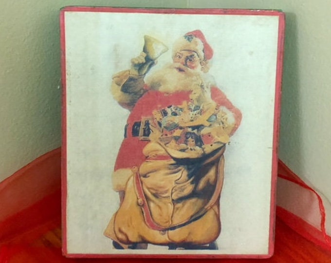 Vintage-Type Nine Piece Block Puzzle in Box CHRISTMAS JOLLY SANTA