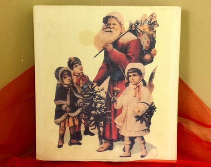 Vintage-Type Nine Piece Block Puzzle in Box CHRISTMAS SANTA