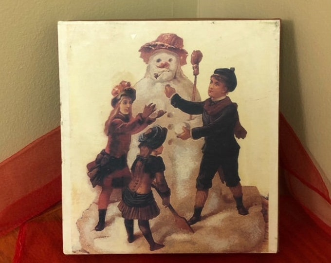 Vintage-Type Nine Piece Block Puzzle in Box CHRISTMAS SNOWMAN
