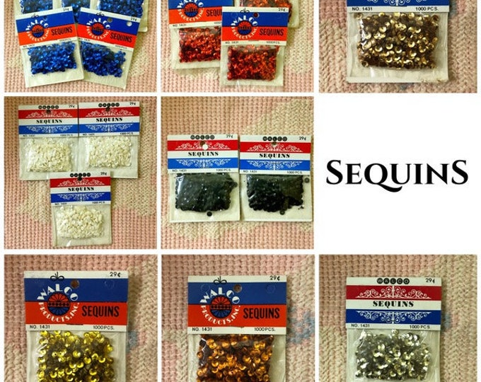 One Package WALCO SEQUINS 1000 Pieces, No. 1431, Various Colors