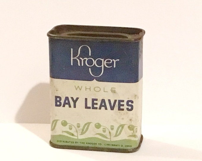 Vintage KROGER Whole Bay Leaves SPICE TIN Can Advertising