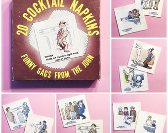 """Vintage COCKTAIL NAPKINS """"Funny Gags From the John"""""""