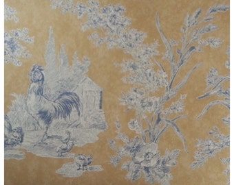 WAVERLY 575754 WALLPAPER BORDER French Country Toile Rooster Floral