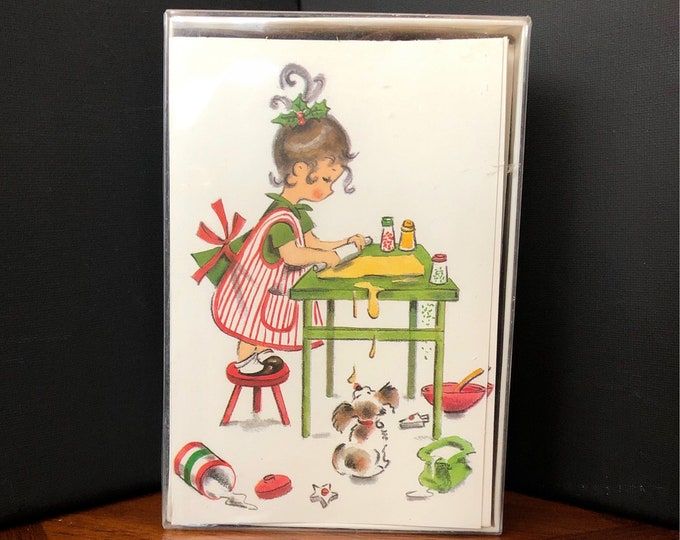Vintage CHRISTMAS Cards with Original Box and Envelopes, KRISTIN ELLIOT, Girl Baking Cookies