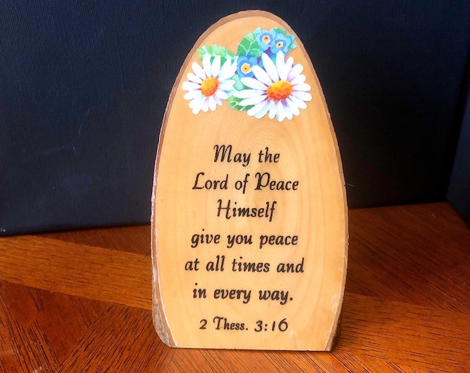 Vintage WOOD TREE BARK Slice Sign, Plaque, Bible Quote, Desk Table Decor