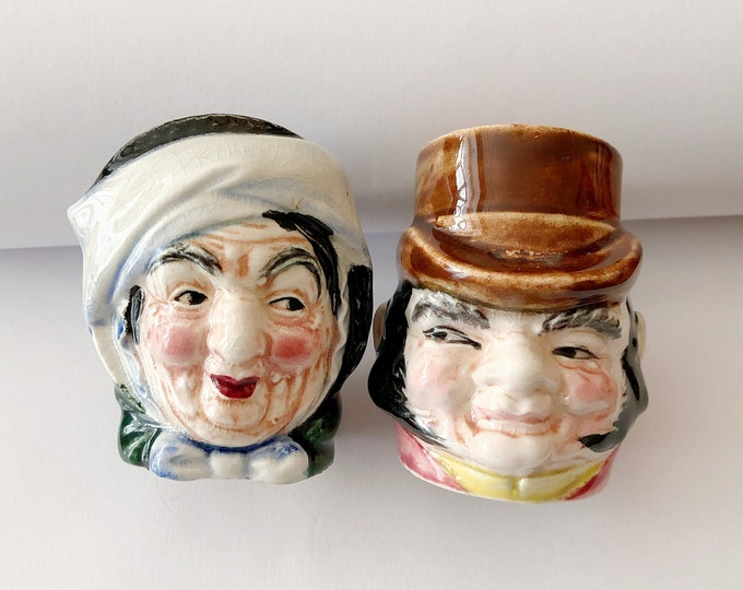 TOBY Head Salt and Pepper SHAKERS Farmer Giles / Sally Gamp VINTAGE Ceramic