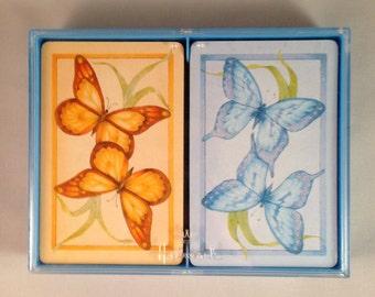"Playing Cards: Hallmark ""Butterflies"" Double Deck Bridge"