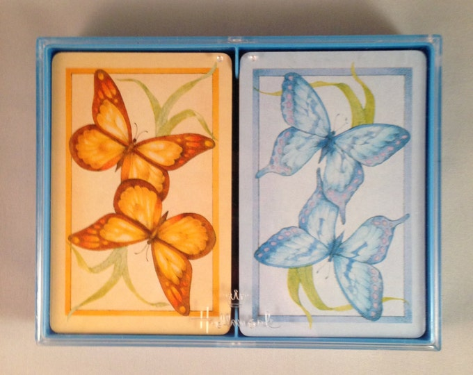 "Playing Cards: Hallmark ""Butterflies"" Double Deck Bridge"