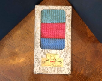 Mid Century Multi-Colored Knitted Beverage COASTERS / COZIES / WRAPS, Vintage Barware