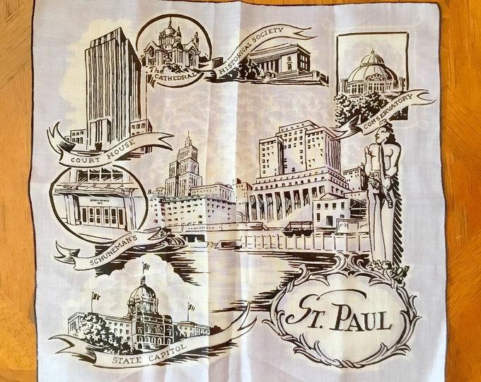 Vintage Souvenir HANDKERCHIEF City Landmarks, ST. PAUL Minnesota, Twin Cities Hanky
