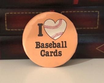 I Heart Baseball Cards (I Love Baseball Cards) Vintage PIN BACK BUTTON