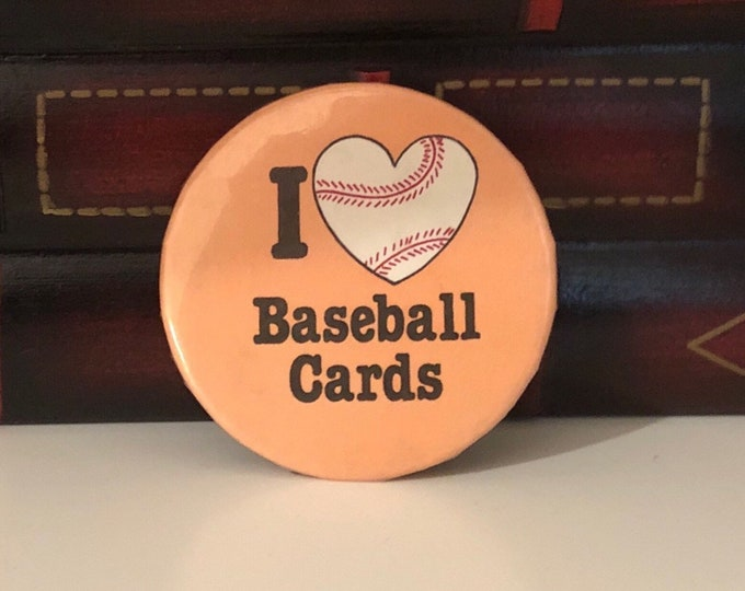I Heart Baseball Cards (I Love Baseball Cards) Vintage PIN BACK BUTTON