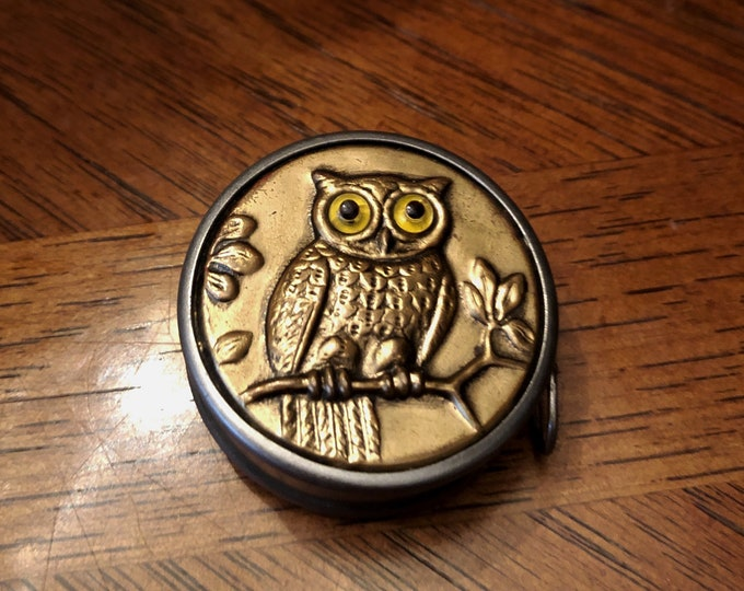 Circa 1930s Made in GERMANY, Figural Glass-eyed OWL Tape Measure, Retractable