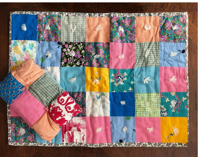 Vintage HANDMADE Doll QUILT Blanket and PILLOW Dolly Bedding