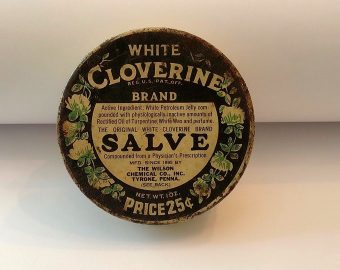 Vintage WHITE CLOVERINE Brand Salve ADVERTISING Tin