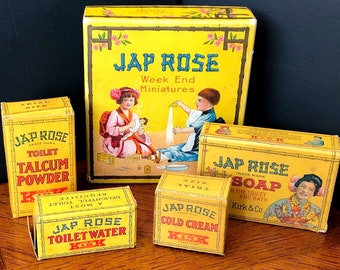 JAP ROSE Week End Miniatures Guest Room Package, Sample Size , Kirk Soap, Early 20th Century Advertising