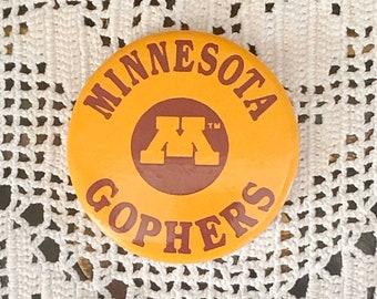MINNESOTA GOPHERS Pin Back Button University of Minnesota Golden Gophers Pinback