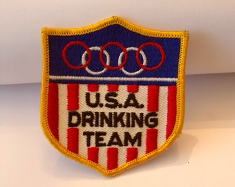 Vintage USA DRINKING TEAM Sew-on Patch, Olympics Parody, Humor