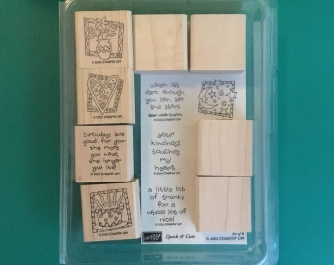 "Set of Eight (8) ""Quick & Cute"" Wood Mount Rubber Stamps by STAMPIN' UP 2002"