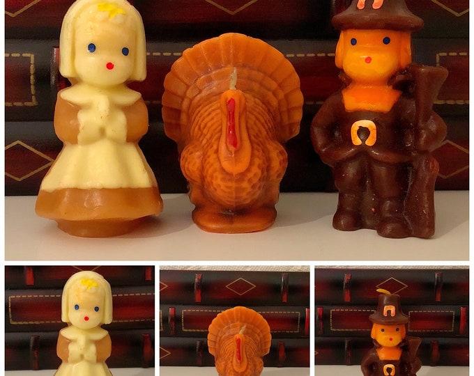 Set of Three (3) Vintage FIGURAL THANKSGIVING CANDLES - Pilgrim Boy and Girl, Turkey
