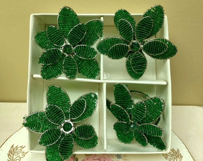 Four (4)  ITR Green FLOWER Napkin Rings, Bead and Wire