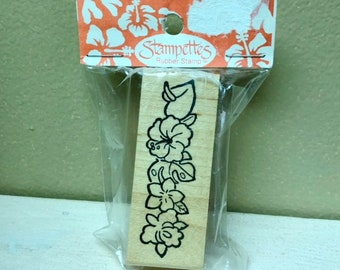 HAWAIIAN FLOWERS Wood Mount Rubber Stamp