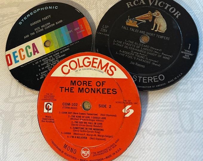 Three (3) Vintage VINYL RECORD COASTERS, Upcycled 1960s / 1970s