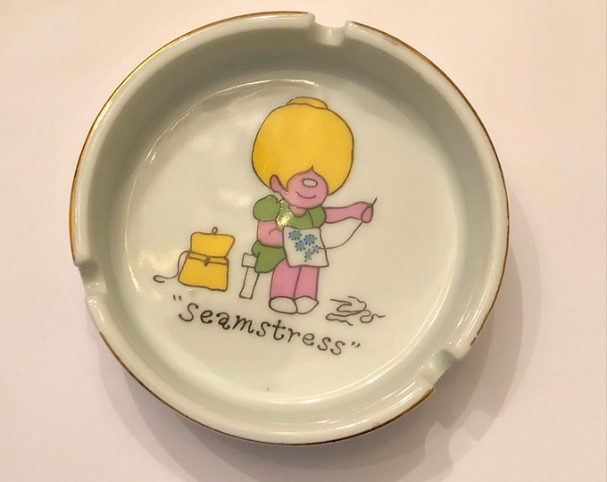 Vintage ENESCO Japan ASHTRAY Cartoon Woman Sewing SEAMSTRESS 1970s Trinket Dish