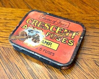 Vintage ADVERTISING TIN, CRESCENT Auto Fuses