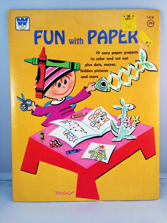 Vintage WHITMAN Fun With Paper Activity Book COLORING BOOK