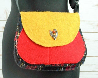 Bella - Black, Red & Yellow tartan Harris Tweed Cross Body Bag