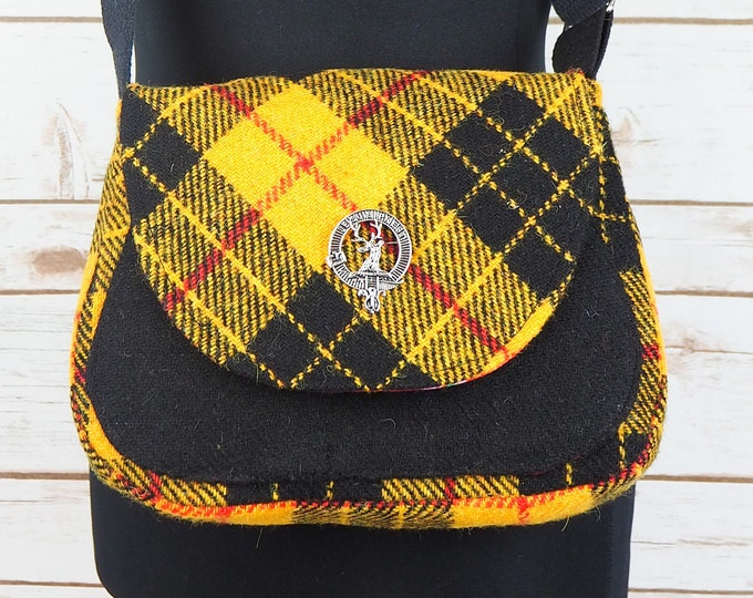 Featured listing image: Bella - Yellow & Black Tartan Harris Tweed Cross Body Bag